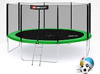 Батут Hop-Sport 14ft (427cm) green с внутренней сеткой  для дома и спортзала, Львов