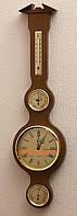 Эффектный деревянный барометр с гигрометром, термометром и часами 204982 дуб в стиле кантри Moller 914608.