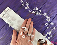 Украшение в прическу веточка металл с цветами и жемчугом