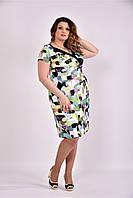 Женское платье на лето 0495 зеленый принт размер 42-74 / большого размера