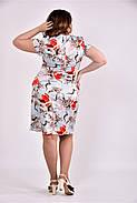 Женское платье на лето 0495 голубой принт размер 42-74 / большого размера, фото 3