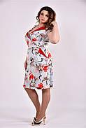 Женское платье на лето 0495 голубой принт размер 42-74 / большого размера, фото 2