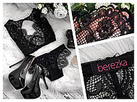 Женское кружевное белье ручной работы черное