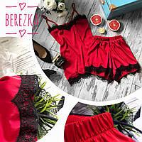 Спальный костюмчик маечка на токих бретелях и шорты с кружевом шелк красный