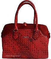 Женская сумка красная-плетенка
