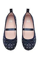 Балетки тканевые темно-синие в белый горошек от H&M 30 размер
