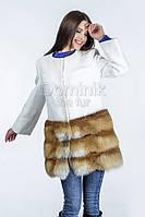 Пальто шерстяное с отделкой из меха лисы - 04494 длина 82 см