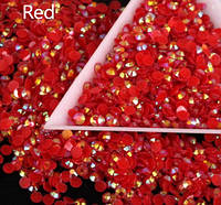 Стразы пластиковые для дизайна ногтей 100 шт. Red
