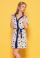 Летнее женское платье-рубашка пудрового цвета с рисунком. Модель 979, коллекция весна-лето 2017.