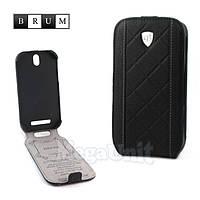 Brum Premium Кожаный чехол для HTC One SV (c520e) (No.26 black)