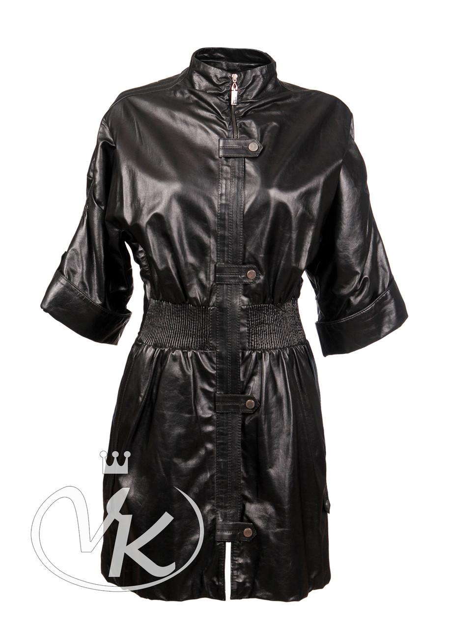 Кожаный плащ с коротким рукавом 48 размера (Арт. PR501)