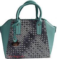 Женская сумка с вставкой в виде плетенки, фото 1