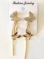 Серьги длинные Бабочки в золоте