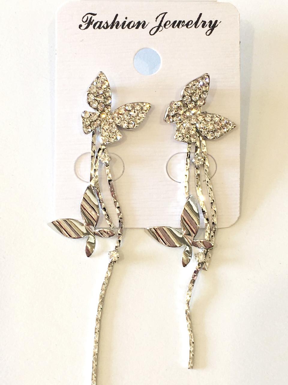 Серьги длинные Бабочки в серебре