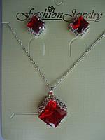 Набор Кулон и серьги-гвоздики с красным камнем Ромб