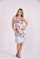 Женское приталенное платье летнее 0491 цвет голубой принт размер 42-74