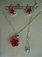 Набор Кулон и серьги-гвоздики с красным камнем Цветок