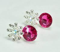 СГ1165-7 Серьги гвоздики с розовым камнем
