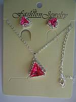 Набор Кулон и серьги-гвоздики с розовым камнем Треугольник