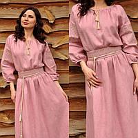 Розовое вышитое платье с рукавом 3/4, фото 1