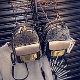 Рюкзак женский с отделкой под рептилию (серебристый), фото 6