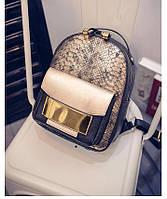 Рюкзак с отделкой под рептилию (золотой)