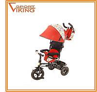 Детский трехколесный велосипед с ручкой Tobi Venture для девочки. Красный цвет.