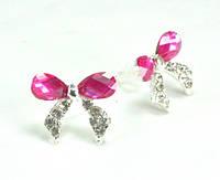 СГ1165-8 Серьги гвоздики с розовым камнем