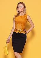 Женское коктейльное платье горчичного цвета. Модель 981, коллекция весна-лето 2017.