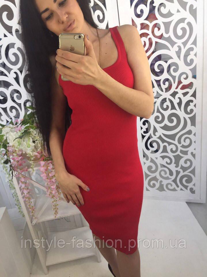 Платье женское облегающее ткань мелкая машинная вязка красное