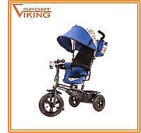 Детский трехколесный велосипед с ручкой Tobi Venture для мальчика. Синий цвет.