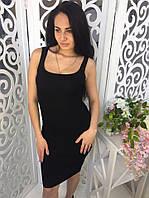 Платье женское облегающее ткань мелкая машинная вязка черное, фото 1