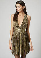 Плиссированное платье с глубоким декольте Topshop