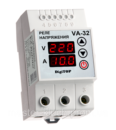 Реле контроля напряжения с контролем тока 32A DigiTOP VA-protector 32A