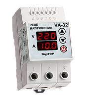Реле контроля напряжения с контролем тока 32A DigiTOP VA-protector 32A, фото 1