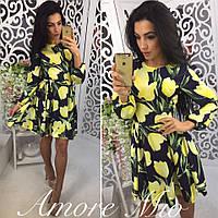 Женское модное шелковое платье с цветочным принтом (3 цвета)