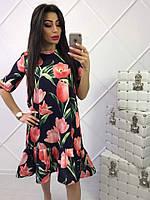 Женское красивое платье-трапеция с цветочным принтом (5 цветов)