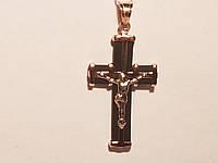Золотой крестик с каучуком. Распятие Христа. Артикул 940011