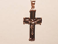 Золотой крестик с каучуком. Распятие Христа. Артикул 940011, фото 1