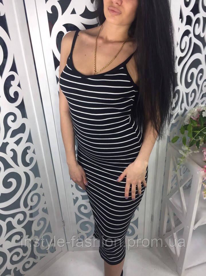 Платье женское в полоску ткань мелкая машинная вязка черное