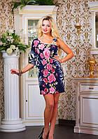 Летнее платье с принтом Розы