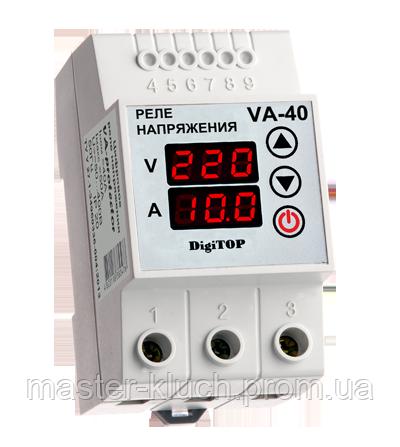 Реле контроля напряжения с контролем тока 40A DigiTOP VA-protector 40A