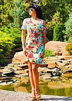 Летнее бирюзовое платье с цветочным принтом
