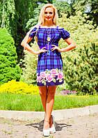 Летнее платье с полуоткрытыми плечами (4 расцветки)