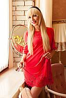 Шикарное платье-туника с перфорацией (беж, бирюза, коралл)