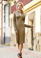 Светло-коричневое трикотажное платье миди с узором на груди и манжетах