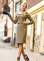 Светло-коричневое трикотажное платье классического покроя