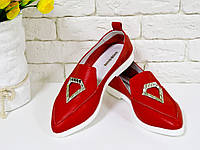 Облегченные туфли из натуральной кожи ярко красного цвета, Коллекция Весна-Лето 2017, Т-1707