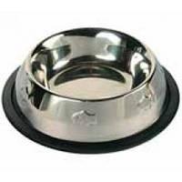 Миска металлическая срезинкой ичеканкойдля кошки, 300мл, 11см