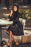 Платье из дорогого гипюра с воротником стойкой в расцветках